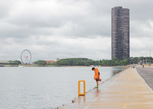 A lifeguard at Chicago Beach in Chicago Illinois
