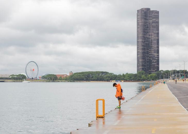 A lifeguard at Chicago Beach