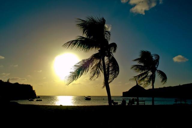 Playa Kenepa Grandi (Knip Beach) at Sunset in  Curaçao