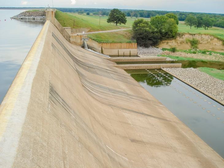 Iron Bridge Dam at Lake Tawakoni in East Texas