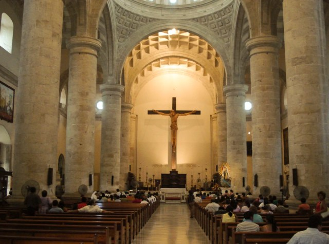 The largest indoor crucifix in the Americas inside a cathedral