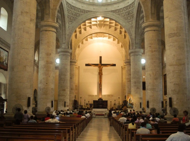 The massive Crucifix in the Cathedral of Mérida
