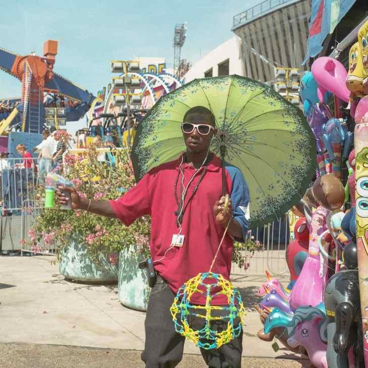 A vendor at theState Fair of Texas on Medium Format Film