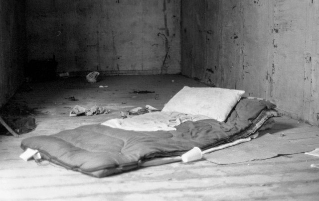 A bed in an abandoned boxcars