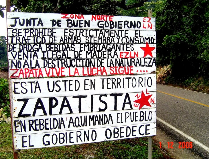 Zapatistas Territory sign in Chiapas, Mexico