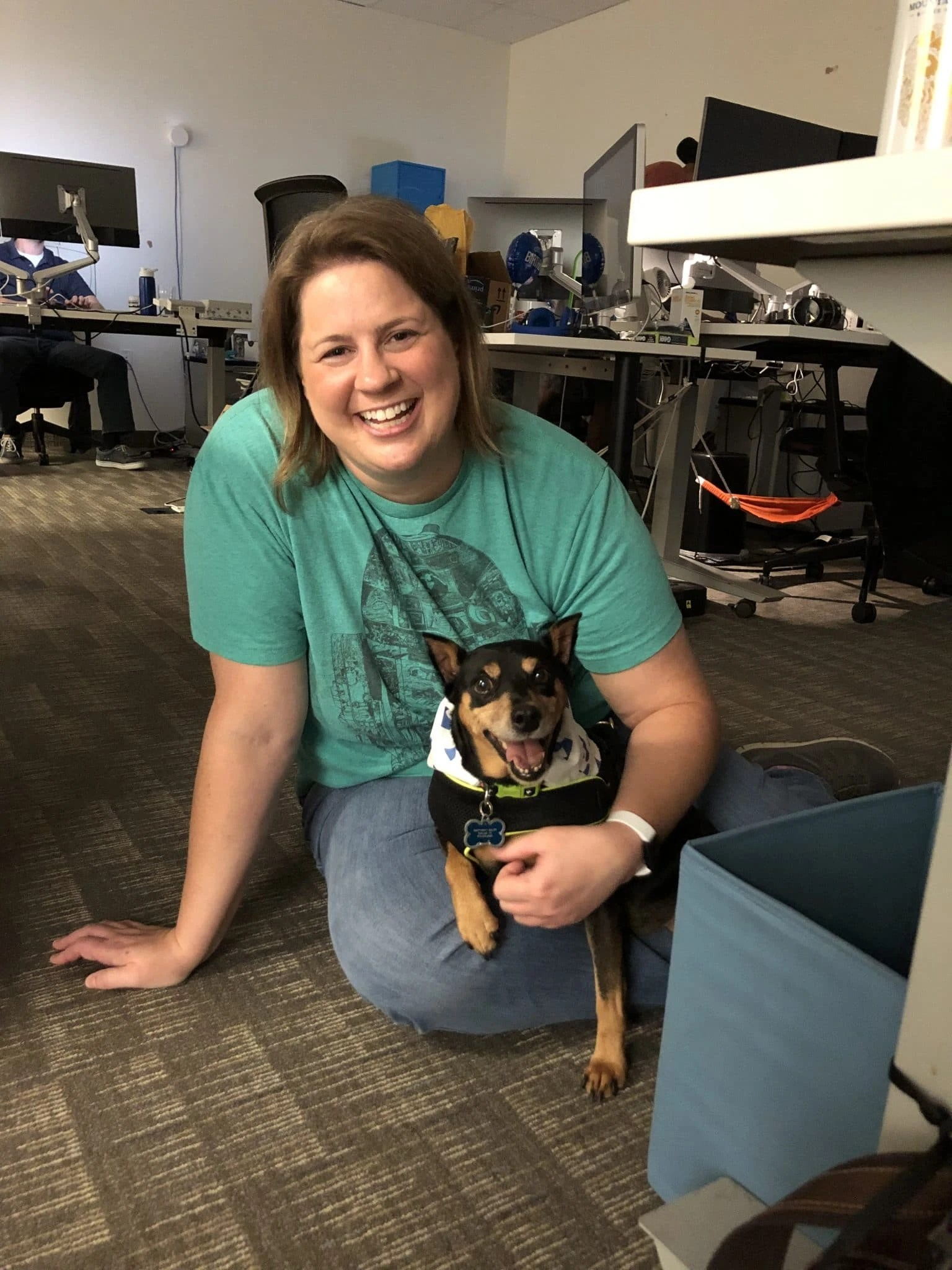 Gambit with Barbara at bring your dog to work day at DoctorLogic
