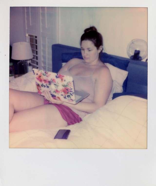 Andrea doing her homework remotely