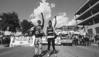 Two people at the George Floyd Protest against police brutality in Dallas