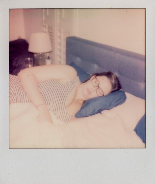 Andrea taking a nap Polaroid photos