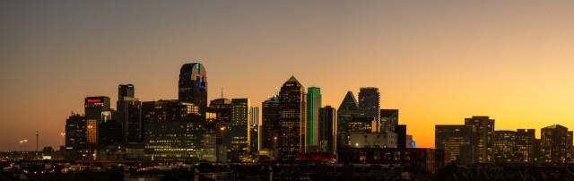 Downtown Dallas panorama at sunset