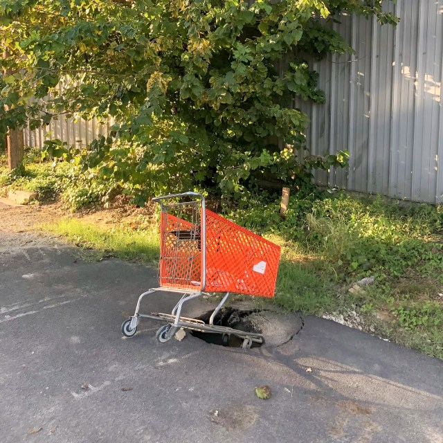 Photos People Remember: A shopping cart in a pot hole