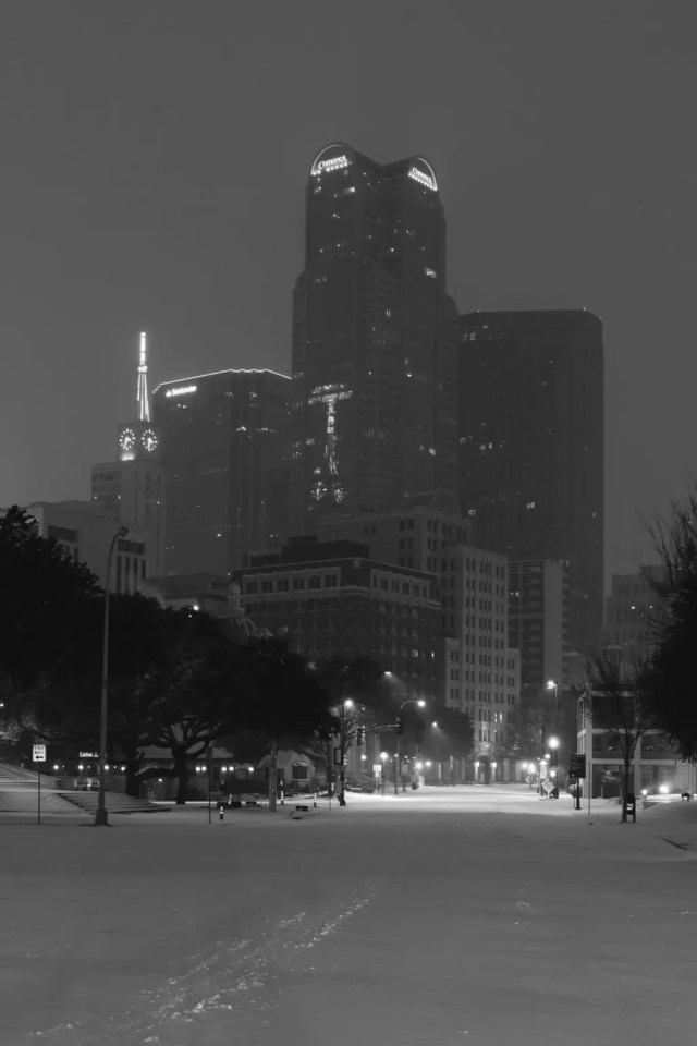 Downtown Dallas skyline in a snowstorm