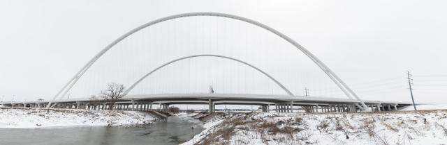 Margaret McDermott Bridge in the snow