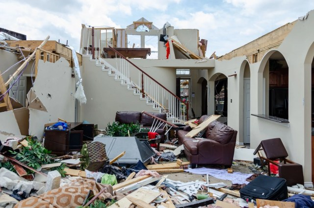 The living room of a home destroyed by the Forney tornado