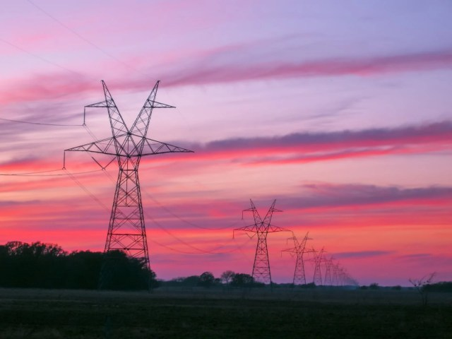 Power lines and Transmission towers at Sunset