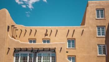 Pueblo style adobe building in Santa Fe