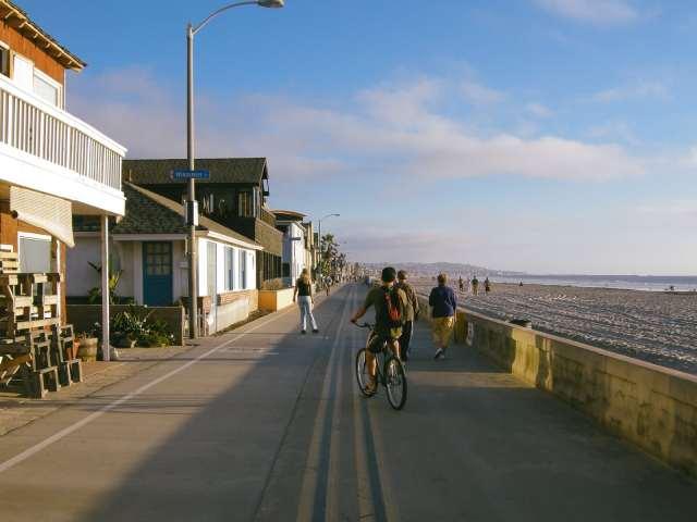 People enjoying a beautiful day at Ocean Beach, San Diego