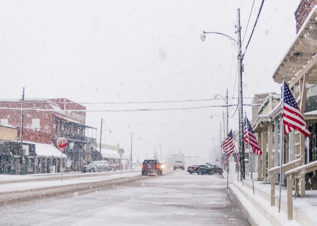 Wills Point in a snowstorm