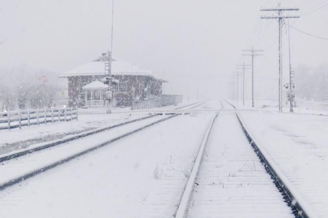 Train tracks in Snowmageddon 2010