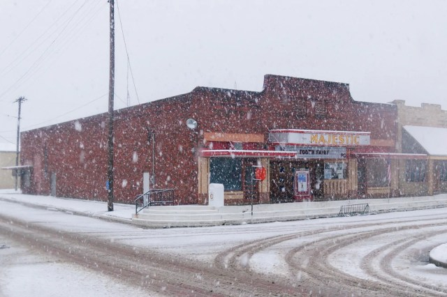 The Majestic Theater in a Wills Point snowstorm