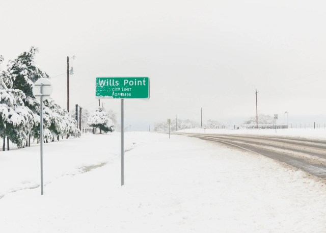 Wills Point city limit sign with snow on it