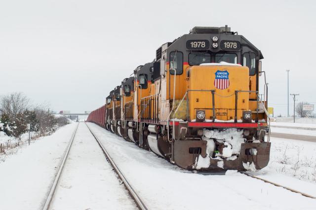 A pacific Union train in the 2010 North American Blizzard