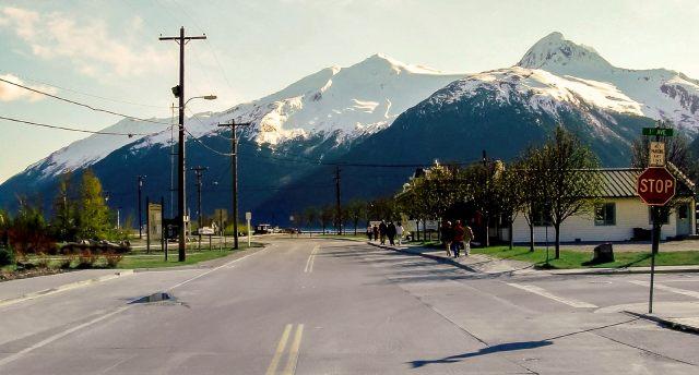 Mountains and street in Juneau Alaska