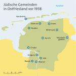 In Ostfriesland gab es insgesamt 11 Gemeinden sowie die Außenstelle der Synagogengemeinde Norden auf Norderney. Bild: Orangeowl aus der deutschsprachigen Wikipedia. Lizenz:  [], von Wikimedia Commons