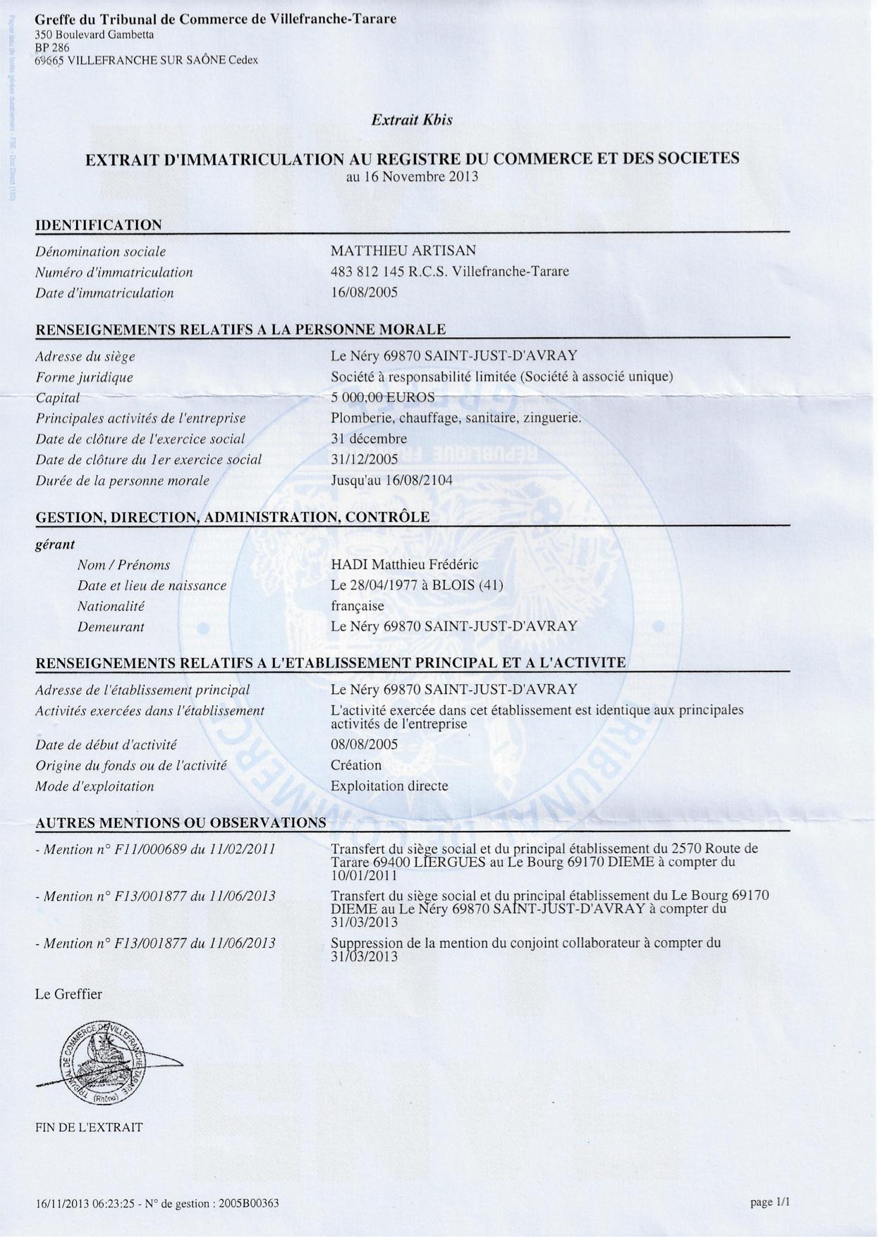 Notre Structure Juridique Et Assurances MATTHIEU ARTISAN