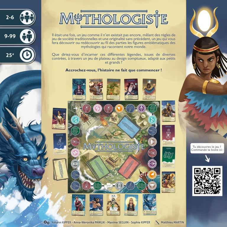 vue à plat dos de boite du jeu Mythologiste, illustré par Matthieu MARTIN