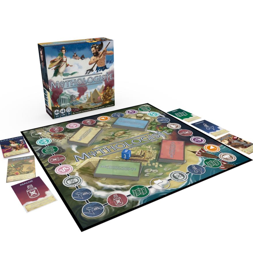 vue 3D de la boite et plateau du jeu Mythologiste, illustré par Matthieu MARTIN