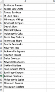 List of NFL teams - no duplicates
