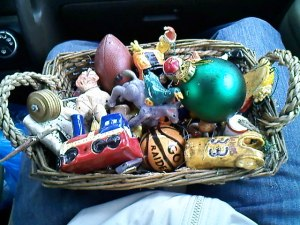 I was so grateful to receive this basket that morning. Almost every ornament was recovered.