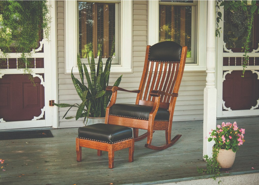 Amish Made Solid Wood Rocker with Leather Seat and Matching Footstool