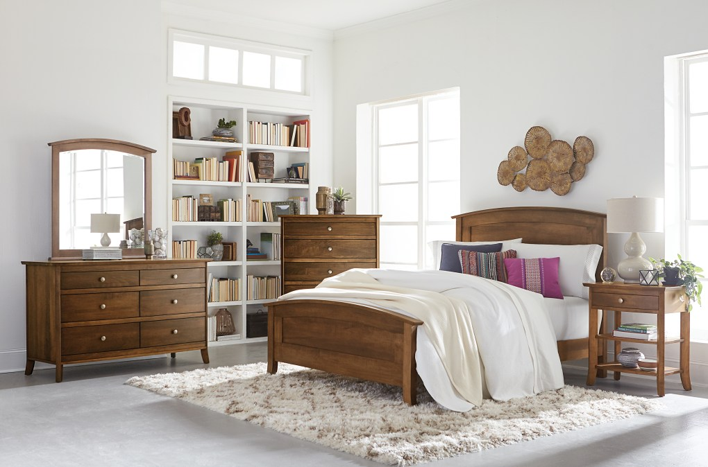 Laurel Bedroom Collection Featured in Brown Maple with Chocolate Spice stain