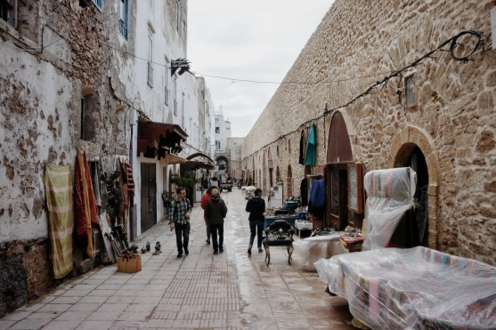 one of the larger, pedestrian-only streets in Essaouira