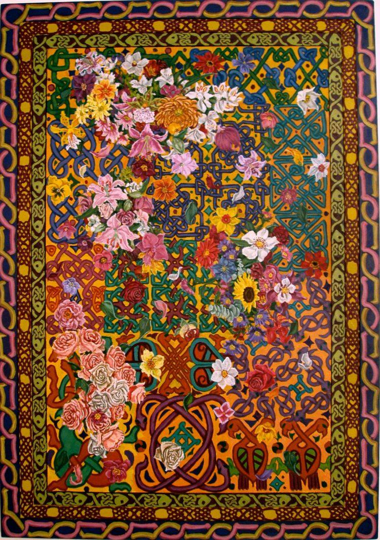 flowers falling on celtic pattern