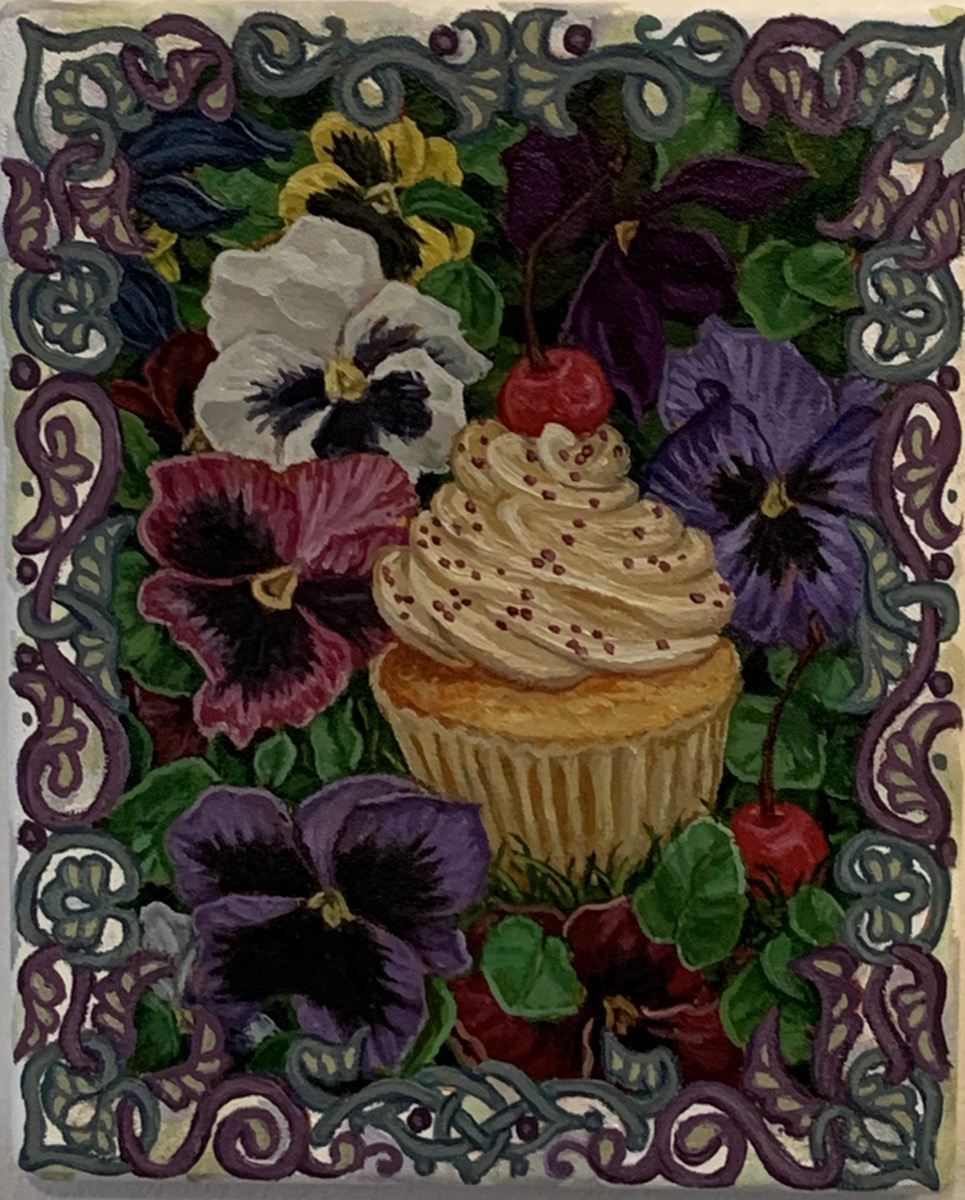 """Cherry Cupcake With Pansies 2020 Oil on wood 10""""x8"""""""