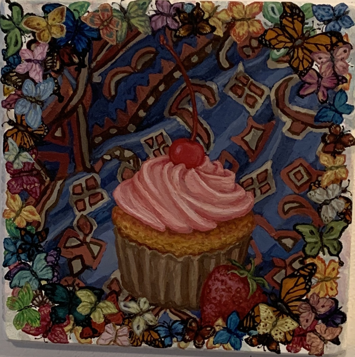 """Cupcake On A Carpet with Butterflies 2019 Oil on wood 8""""x8"""""""