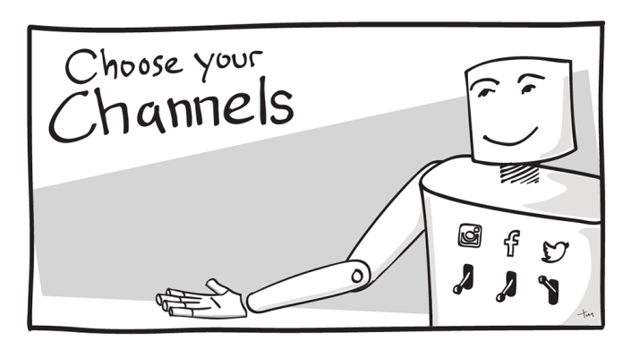 "Illustration of a robot and text reading ""Choose your Channels"""
