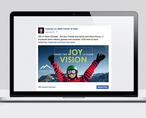 Screenshot of the LASIK sweepstakes Facebook ad