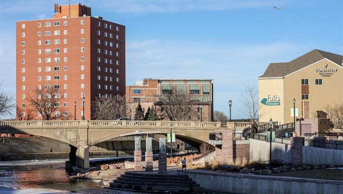 View of Downtown Sioux Falls from the Big Sioux river