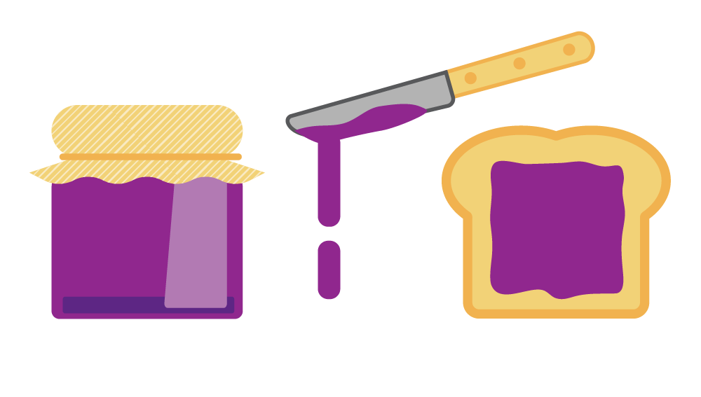 Illustrated gaphic of toast and jam