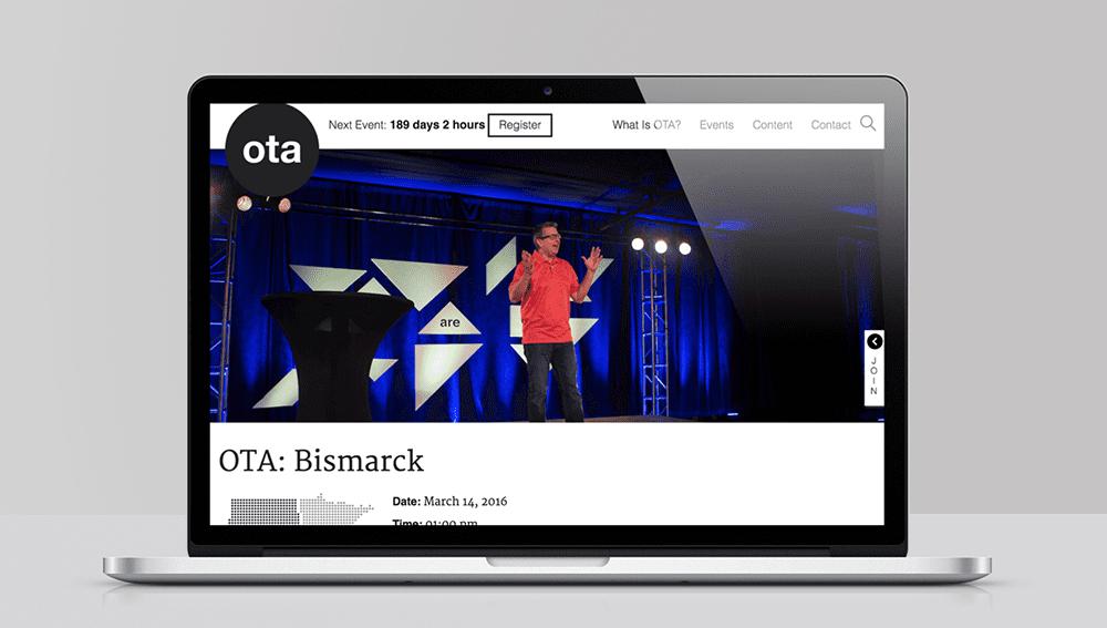 Screenshot of the OTA website