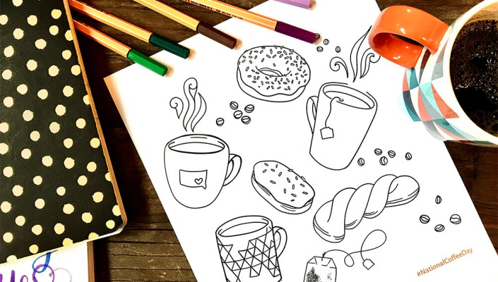 National Coffee Day coloring page