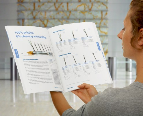 Woman reading the MST product cataog