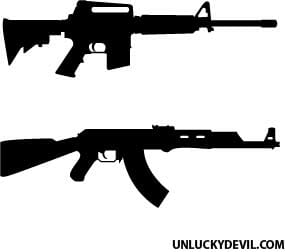free vector ak 47 and ar 15 silhouettes