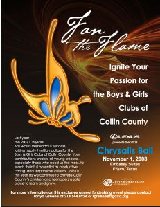 Print Design: Full Page Ad for The Boys & Girls Clubs of Collin County 2008 Gala