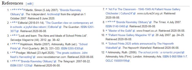 Screenshot of June 2020 references - twelve references.