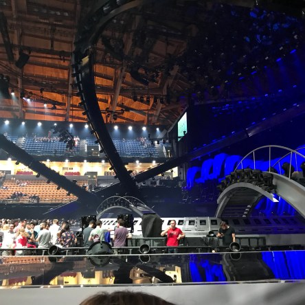 View of Eurovision 2018 stage before start of jury grand final show